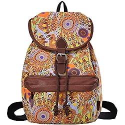 DGY - Moda la mochila de lona y PU cuero Bolsos de Mujer Bolsa de Viaje Mochilas Tipo Casual 164 Naranja-1