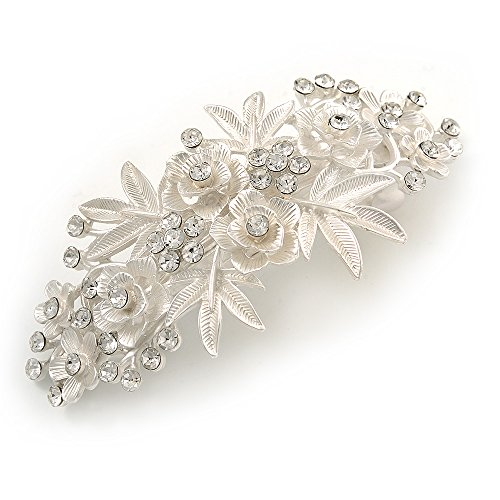 Große Ton (Groß helles Silber Ton matt mit Rose Blume Haarspange Hair Clip Grip–95mm über)