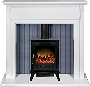 Adam Florence Stove Suite in Pure White with Aviemore Electric Stove in Black, 48 Inch