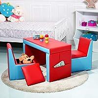 COSTWAY Kids sofa Set Double Seater Armchair 2-In-1 Table Chair Boys Girls Children Furniture Living Room Bedroom Home Indoor (Red)