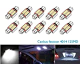 Bombillas led canbus para automóvil CICMOD, libres de error 4014smd, 12 luces LED C5W de 31 mm, bombillas para festón de matrícula, luz HID blanca (paquete con 10 unidades)