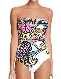 YipGrace Bañadores Deportivas Mujer Bikinis Push Up Trajes De Baño Swimwear Bikini Ropa De Baño Traje Impresión floral del bikiní de Monokini