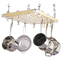 MasterClass KitchenCraft Deluxe Ceiling Mounted Wooden Pot Rack 61x51cm, Gift Boxed