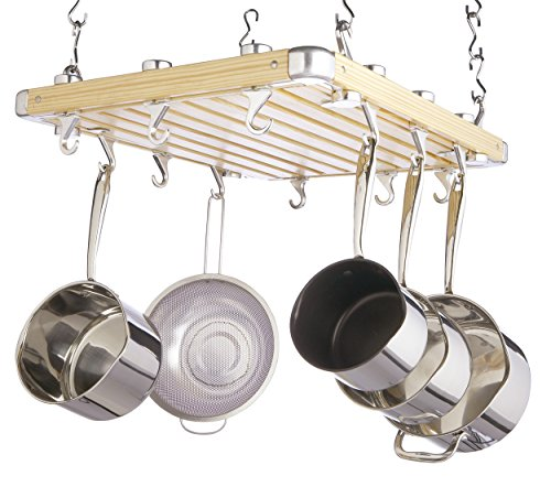 MasterClass Wooden Ceiling-Mounted Hanging Pan Rack, 61 x 51 cm