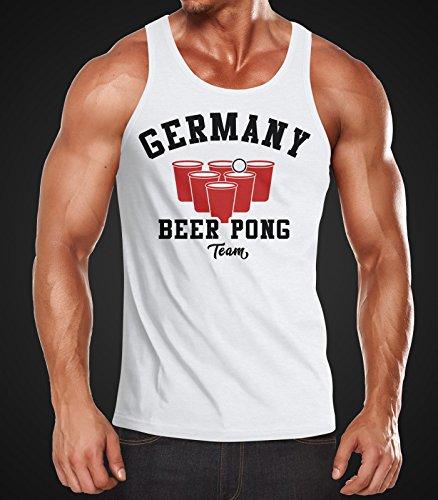 Herren Tanktop Germany Beer Pong Team Bier Moonworks® Pong weiß