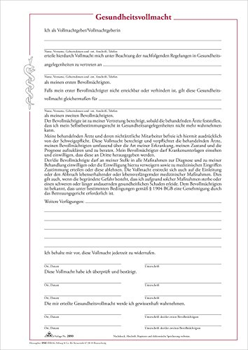 RNK 2890 Gesundheitsvollmacht mit 3 Vollmachtsformularen (Medizinische Vollmacht)