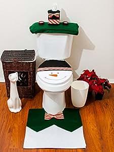 Bonhomme Housse de Siège Cuvette Toilette+Etui Boîte à Mouchoir+Tapis Déco Noël