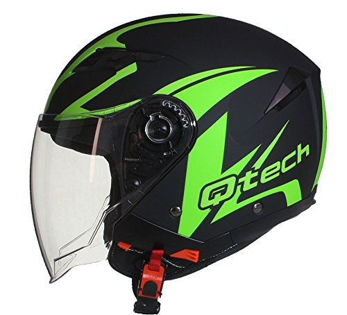 JET CASCO Moto Helm Doppia Visierra Parasole Nero Opaco Vespa EC 22-05 approvato Verde - M (57-58cm)