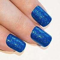 Bling Art Unghie Finte Gel Manicure Francese Lustrini Blu Mare Punte Medie