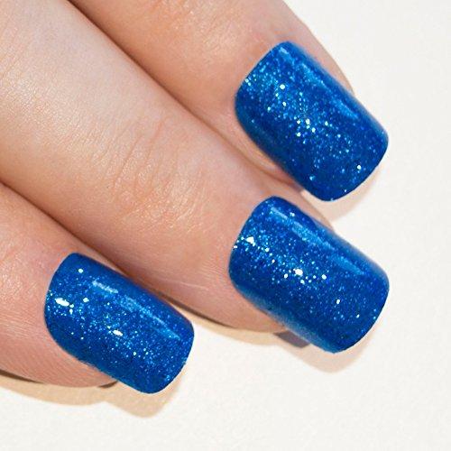 Art bling faux ongles français Manucure Gel Bleu Glitter Moyen Conseils UK