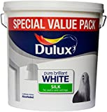 Dulux Silk Smooth and Creamy Emulsion Paint for Use on Walls/Ceilings, 6 L - Pure Brilliant White