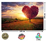 PMP-4life. XXL Poster Roter Baum mit Herzform | 140cm x 100cm | Abstraktes Bild in HD Wandbild Wand-deko | Blumen-Wiese Bäume Natur Landschaft Berge |