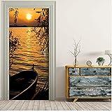 Durch Aufkleber 3D benutzerdefinierte Sonnenuntergang Boot durch Wandbild Tapete Wandbild drucken Aufkleber Wandbild durch Selbstklebende Wrap 77X200Cm