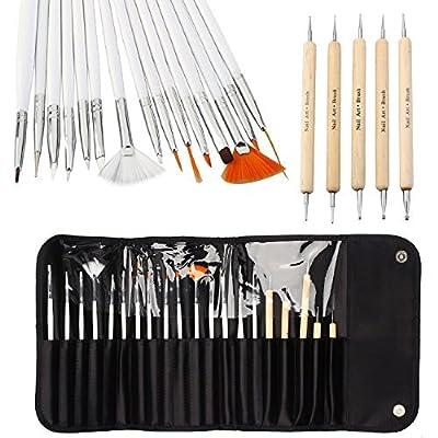 20pcs Nail Art Designing Painting Dotting Detailing Pen Brushes Bundle Tool Kit by ONE1X®