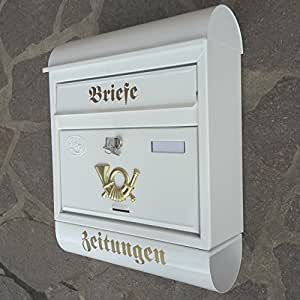 gro er briefkasten postkasten xxl wei mit zeitungsrolle runddach garten. Black Bedroom Furniture Sets. Home Design Ideas