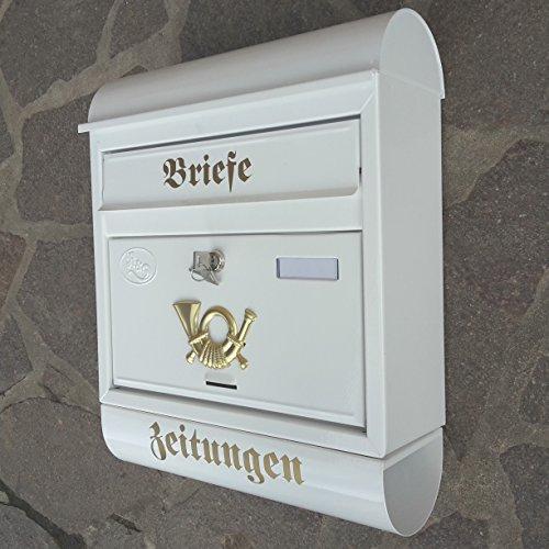 Großer Briefkasten / Postkasten XXL Weiß mit Zeitungsrolle Runddach