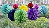 Diario Mall–Set de 8cm, 15cm, 20cm, tejido de bricolaje papel panal de bolas para colgar bola Pompón, diseño fiesta boda cumpleaños jardín decoración del hogar Colorful Set - Daily Mall - amazon.es