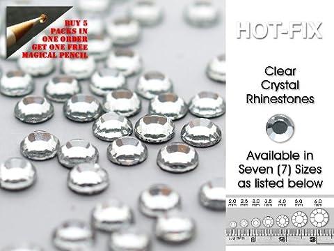 Lana's Magic Diamante Diamante Strass en cristal transparent Lana'thermocollant de haute qualité–Disponible en 7tailles (de 5paquets ou plus obtenir sans Crayon Magique), claire, SS30 - 6.0mm Diameter