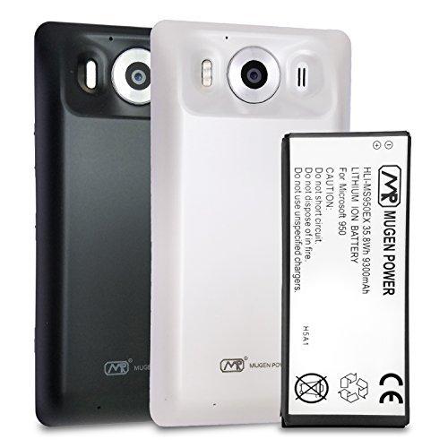 Mugen Power Microsoft Lumia 950   Triple Power 9300mAh Superverlängerte Batterie   Plus Extra 1 Schwarz +1 Weiße Rückseite Inklusive 12 Monate Garantie