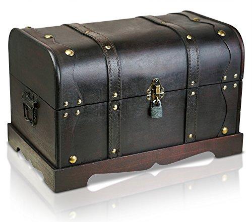 Thunderdog Piratentruhe - Holztruhe braun - Handarbeit Vintage mit Schloss Verschiedene Größen - Das ideale Geschenk unsere Schatzkiste (Columbus XL 40x25x25 cm)