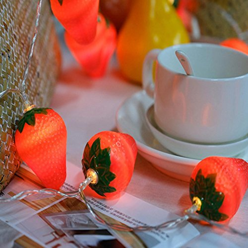 DOLDOA Erdbeere Batterie-Kasten Lichterkette für Haus, Hochzeit, Weihnachten, Erntedankfest (20er – Länge: 2M, Licht Farbe:Gelb)