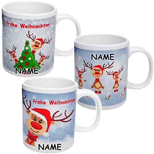 Unbekannt 3 Stück _ Henkeltassen / Kaffeetassen -  Weihnachten - lustige Rentiere  - incl. Name -...