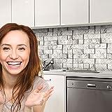 druck-expert Küchenrückwand Selbstklebend Dekorfolie Steinwand grau Profi Qualität 0, 25mm 3D Strucktur 300x61cm