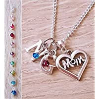 Handmade Sterling Silver Chain Personalised Initial Mum Necklace with Genuine Swarovski Crystals