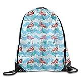 fengxutongxue Flamingoes Drawstring Backpack Travel Bag Gym Outdoor Sports Portable Drawstring Beam Port Backpack for Girl Boys Woman Female