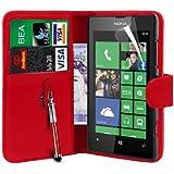 N4U Online Nokia Lumia 520 PU Portefeuille en cuir de couverture de cas, protecteur d'écran et stylet - Rouge