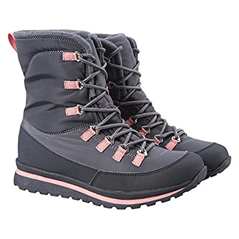 Mountain Warehouse Snow Angel Women's Snow Boots - Water-Resistant Coating with Soft, Warm & Cosy Fabric Lining for Heat Insulation, Grippy Outsole Dark Grey 4 UK