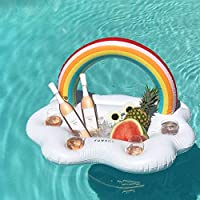 GJXY Party Toy Ice Bucket Rainbow Cloud Cup Holder Inflatable Pool Float Beer Drink Cooler Table Bar Tray Beach Island Prop,95 * 65 * 65cm