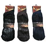 SW 2 Paar Herren Profil- ABS Socken Anti Rutsch Socken Stoppersocken Noppensocken 40-44 (Braun)