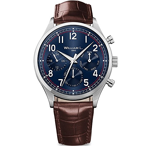 William L. Mens Chronograph Quarz Uhr mit Leder Armband WLAC03BUCM -