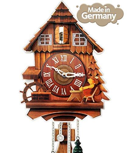 Kult AG Pappuhr XL - Kuckucksuhr modern aus Pappe mit 2 natürlichen Tönen (abschaltbar, batteriebetrieben) Vintage Wand Deko für die...
