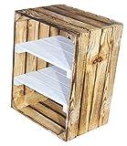 2er Set geflammte Holzkiste mit 2 Mittelbrettern in weiß -Zwischenbrett quer- flambierte Obstkiste als Schuhregal/Bücherregal / Kistenregal mit Einlage in weiß 50x40x30cm