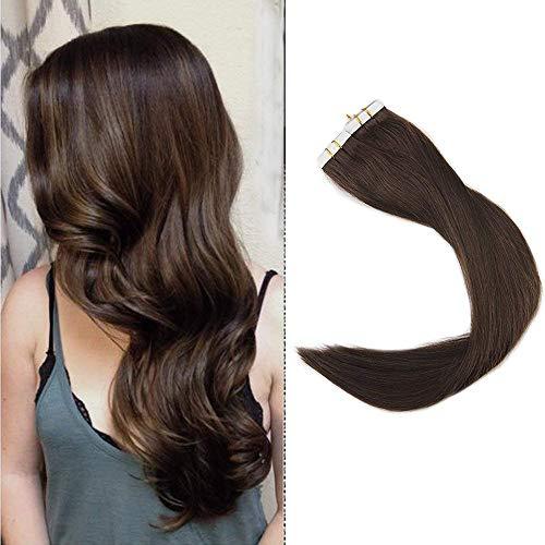 Full Shine 24 Zoll 40 Stuck Per Set 100g 100% Remy Human Haarverlängerung Farbe #4 Full Head Glue in Human Hair Extensions Tape in Verlängerung (Human Hair Extensions Full Head)