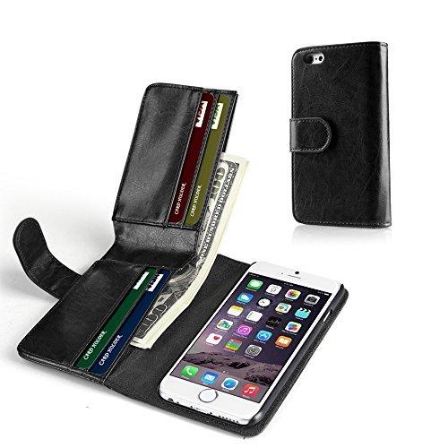 TNP iPhone 6S Plus Wallet Case-Synthetik-Leder Wallet Case Flip Cover Mit Kreditkarte ID Card Slots und Geld Tasche, für Apple iPhone 6S Plus und iPhone 6Plus 14cm Geräte (schwarz) für Herren (Slim Case Herren-coach Card)