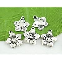 Charm Anhänger Antiksilber Blume 15mm 5 St Kettenanhänger Modeschmuck Metall diy