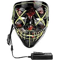 XDDIAS Máscara de Halloween, Led Mascaras para Navidad Halloween Cosplay Grimace Festival Fiesta Show (Verde)