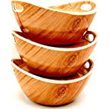 Smart Dinning Serving Bowl Set With Lid Cum Tray 3 PCs Melamine Serving Bowl Set With Lid Cum Tray - Wooden Touch