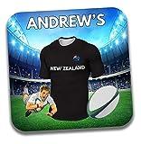 Cadeau personnalisé-Nouvelle-Zélande sur le thème de rugby pour homme Dessous-de-verre à bière/mat-Cadeau d'anniversaire-Cadeau