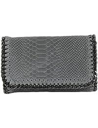 57b4bb394dbc1 Handtasche Damen Clutch LANI klein Lederlook Glitzer Metallic Optik mit Kette  Abendtasche