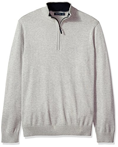 Nautica Men's Long Sleeve 1/4 Zip Solid Sweater With Suede Pull Detail, Grey Heather, 2X Big-Tall (Nautica 1/4 Zip Pullover)
