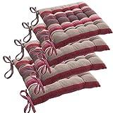Lote de 4 Cojines para silla con amarres - 40 x 40 cm - Acolchados y 100% algodón - Color GRIS a rayas