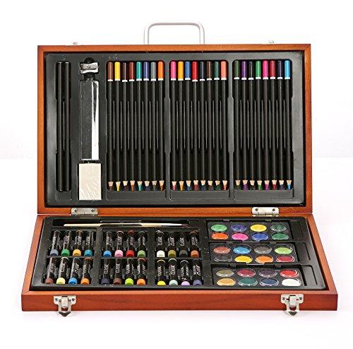 Wooden Art Set - (82 Stück) Deluxe Kunst Kreativität Set und professionelle Kunst Set Box zum...