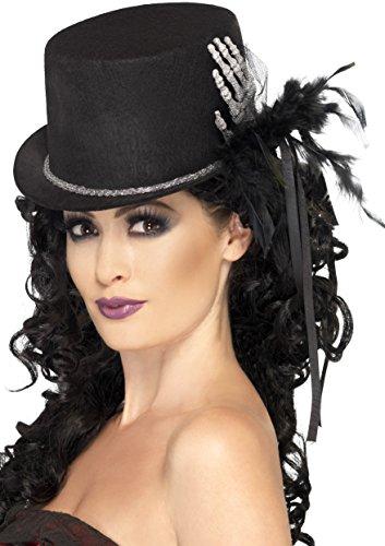 Smiffys, Damen Hut mit Skelett Hand, Federn und Bändern, One Size, Schwarz, (Adult Dress Spiel Up)
