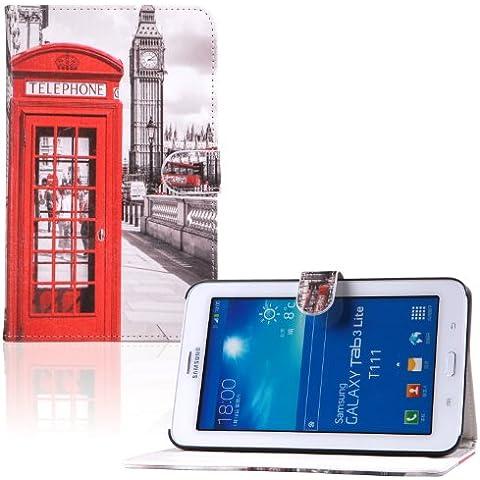 tinxi® PU piel Caso de cuero de la PU para Samsung Galaxy Tab 3 7.0 Lite T110 T111 7 pulgadas (17,78 cm) de la cubierta del caso Flipcase destacan imán función cabina de teléfono rojo (no para Samsung Galaxy Tab 3 7.0 T210 T211)
