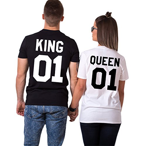Pareja camiseta JWBBU® rey Reina 01 impresión hombres mujer Casual Fashion Tops Tees, San Valentín amante pareja camiseta (king-S+Blanco-queen-S)