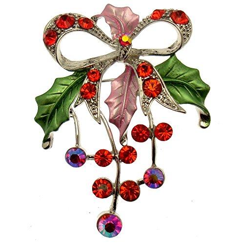 Acosta Jewellery–Rot Kristall mit Pink und Grün Emaille–Floral Schleife Brosche (silberfarben)